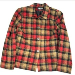 Large Red Tan Plaid Chenille Blazer Jacket Coat